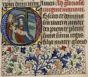Illuminated manuscript initial and floral border